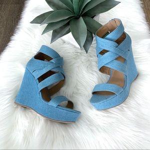 QUPID Light Blue Denim Platform Wedge Sandal 8